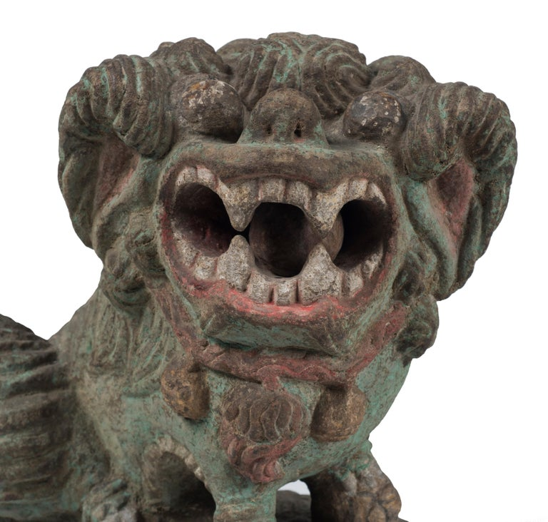 Stone Ancient Pho Dog Sculpture, Chinese Manufacture, 19th Century For Sale