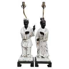 Marcello Fantoni Asian Regency Figural Table Lamps Traditional Man Woman 1950s
