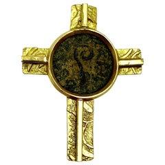Ancient Roman 30 A.D. Pontius Pilate Bronze Coin Gold Cross Pendant, Ford Estate