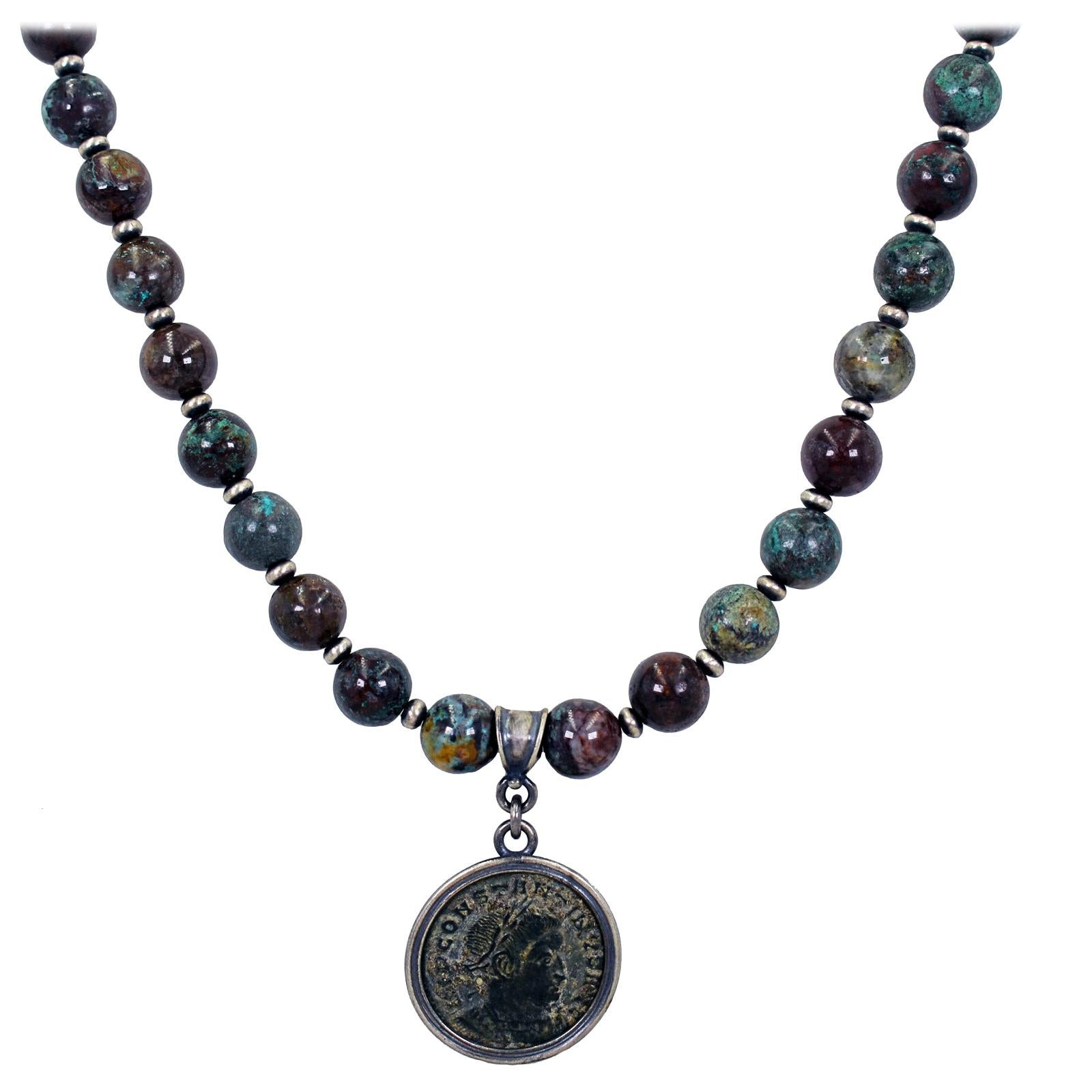 Ancient Roman Bronze Coin and Chrysocolla Beaded Pendant Necklace