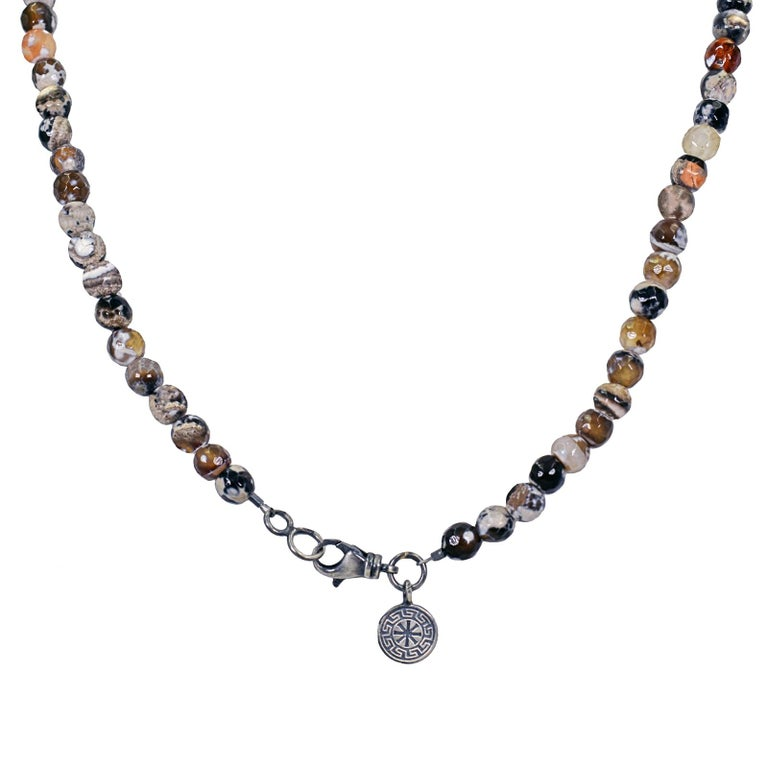 Contemporary Ancient Roman Bronze Coin and Fire Agate Beaded Pendant Necklace For Sale