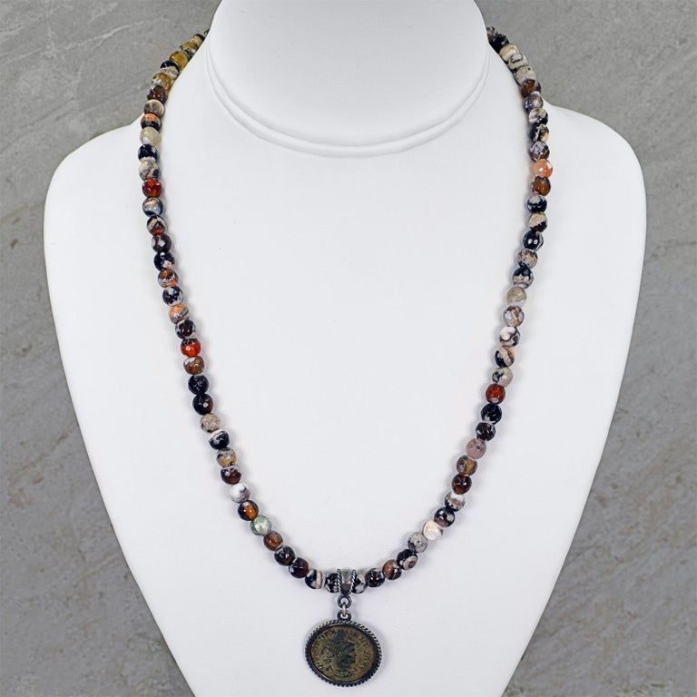 Women's or Men's Ancient Roman Bronze Coin and Fire Agate Beaded Pendant Necklace For Sale