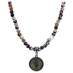 Ancient Roman Bronze Coin and Fire Agate Beaded Pendant Necklace