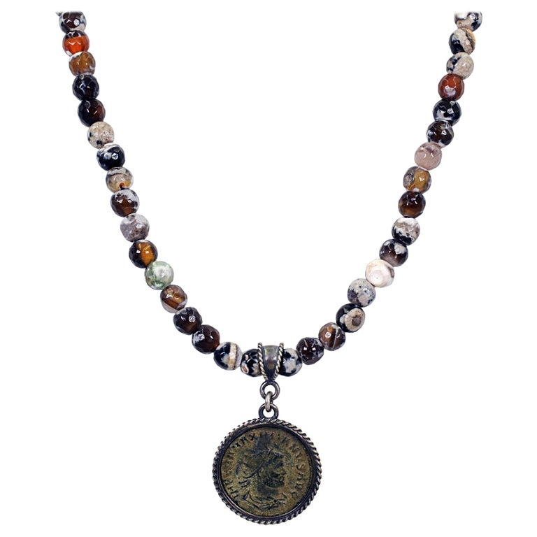 Ancient Roman Bronze Coin and Fire Agate Beaded Pendant Necklace For Sale