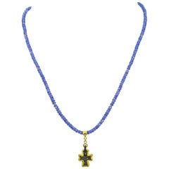 Ancient Roman Bronze Cross 22 Karat Gold Pendant Tanzanite Beaded Necklace