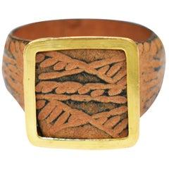 Ancient Roman Bronze Signet Ring with 22 Karat Gold Bezel