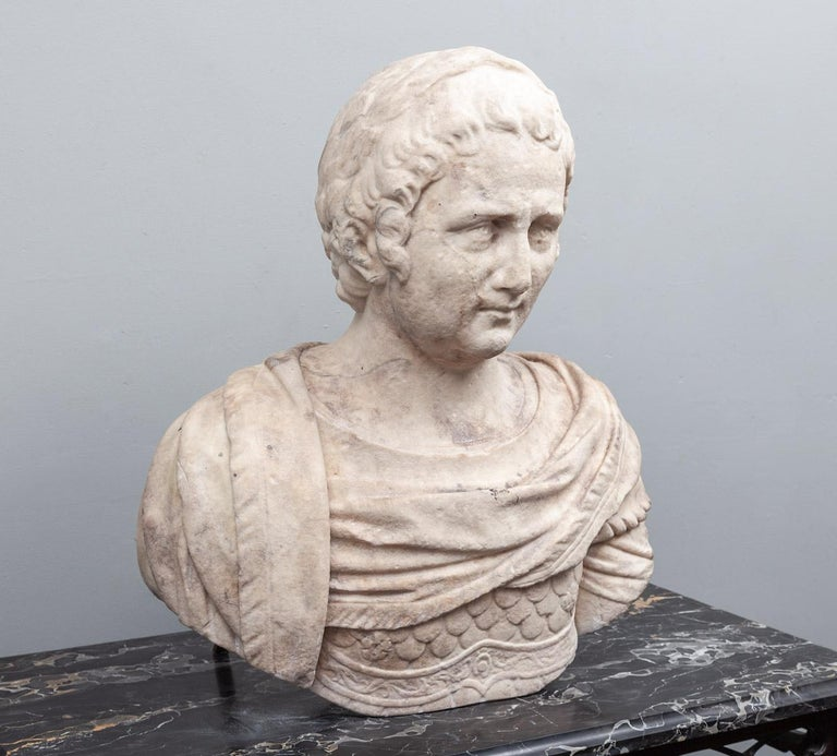 An ancient Roman marble bust of a male, dating to the 1st-2nd century AD.
