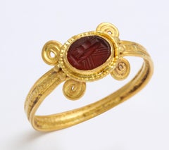 Ancient Roman Carnelian Intaglio Ring with Clasped Hands