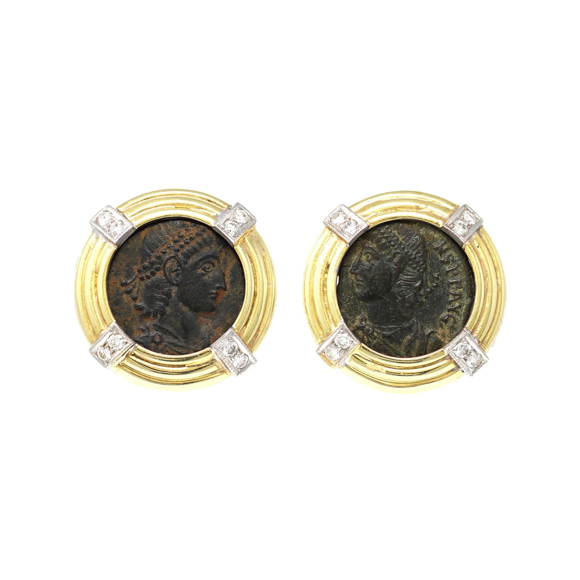 Ancient Roman Coin Clip On Earrings with Diamond Accents in 18k