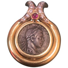 Ancient Roman Coin Diamond and Ruby Gold Pendant Estate Fine Jewelry