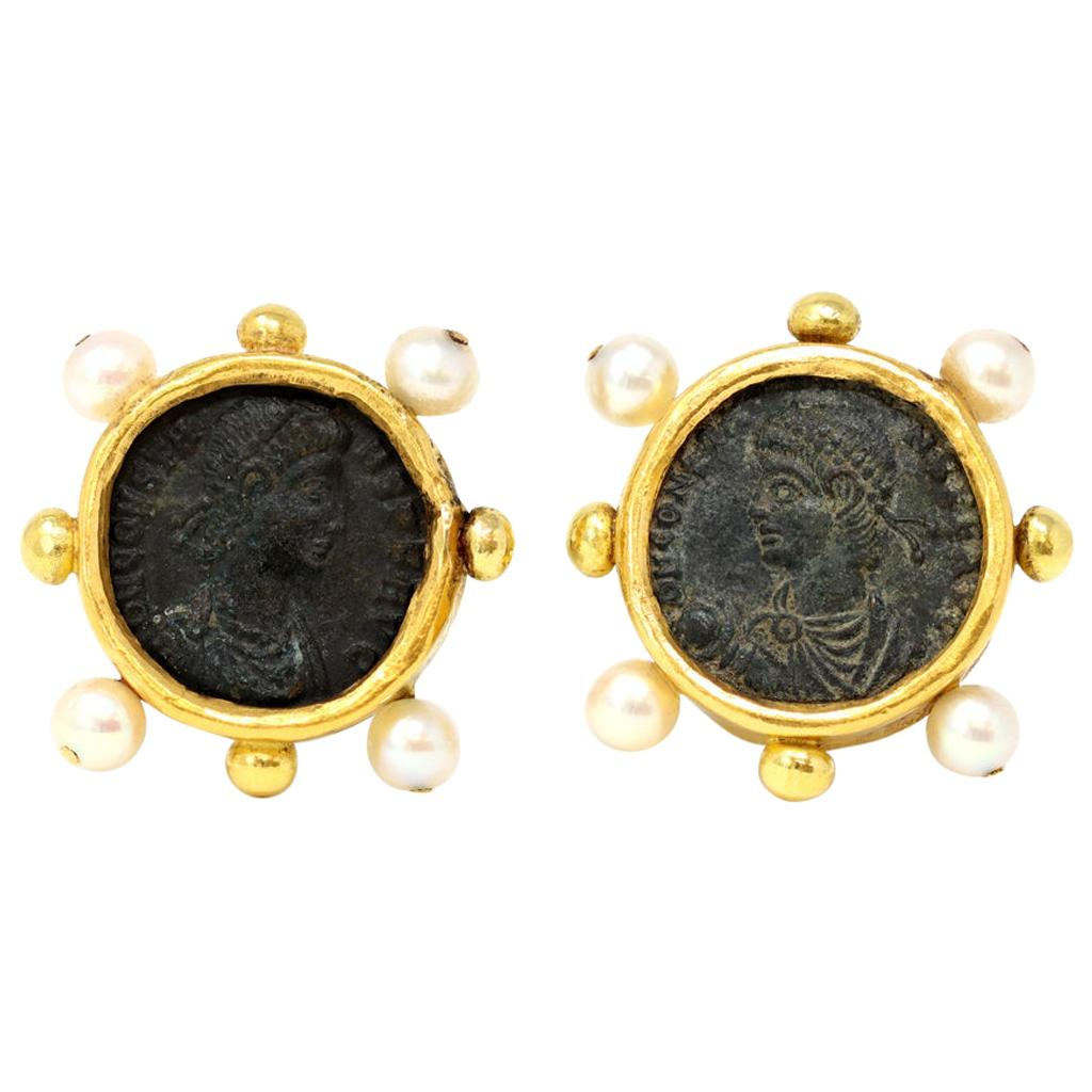 Ancient Roman Coins and Pearls Clip-On Earrings in High Karat Gold