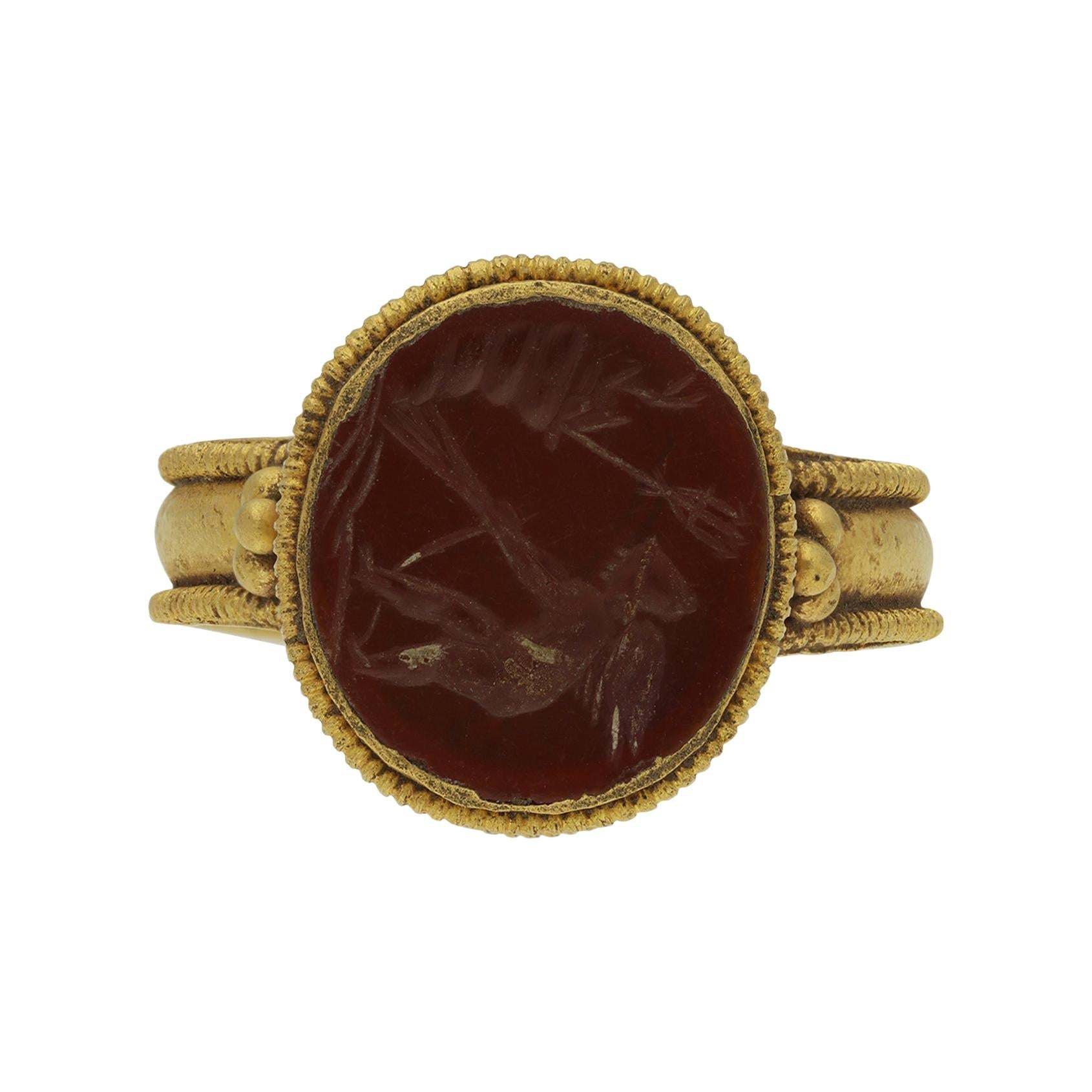Ancient Roman Gold Ring with Intaglio of Neptune, circa 2nd-3rd Century AD