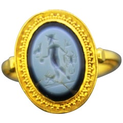 Ancient Roman Gold Ring with Nicolo Intaglio, 1st-3rd Century Ad