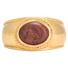 Ancient Roman Jasper Chicken Intaglio Signet Ring