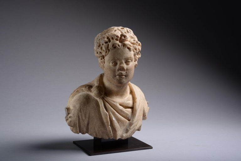 Classical Roman Ancient Roman Marble Bust of a Young Man, 150 AD For Sale
