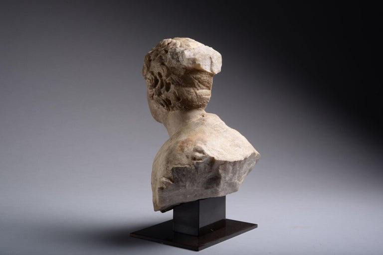 18th Century and Earlier Ancient Roman Marble Bust of a Young Man, 150 AD For Sale