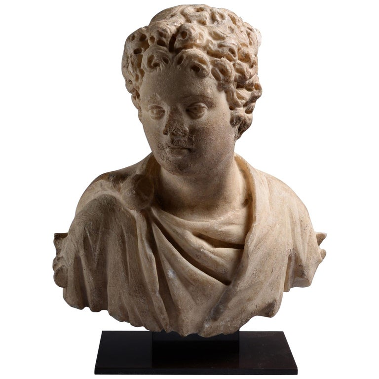 Ancient Roman Marble Bust of a Young Man, 150 AD For Sale