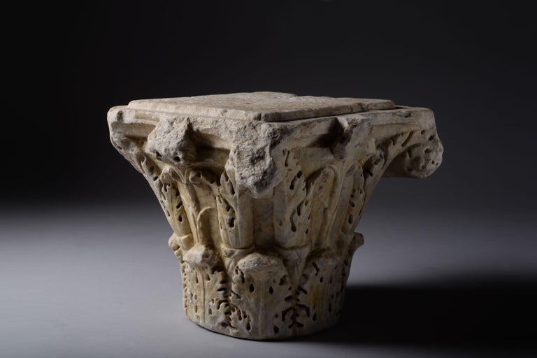 Ancient Roman marble column capital, dating to the 2nd-3rd century AD.