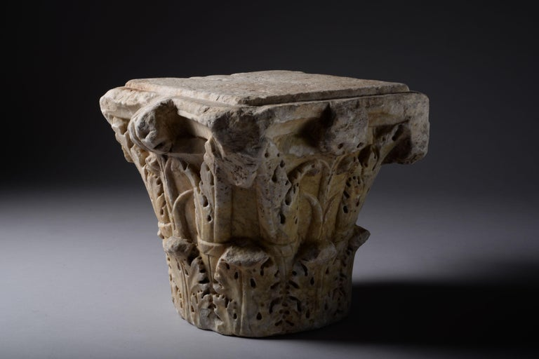 Classical Roman Ancient Roman Marble Column Capital, 200 AD For Sale
