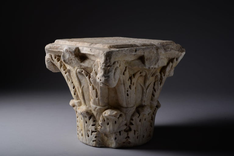 Ancient Roman Marble Column Capital, 200 AD In Excellent Condition For Sale In London, GB