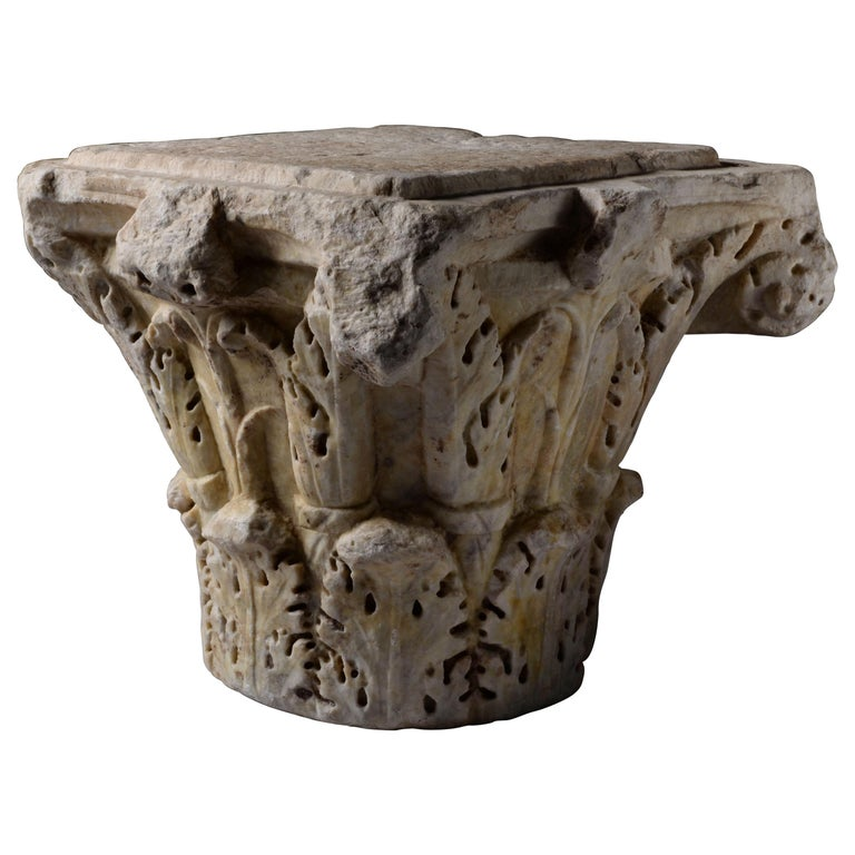 Ancient Roman Marble Column Capital, 200 AD For Sale