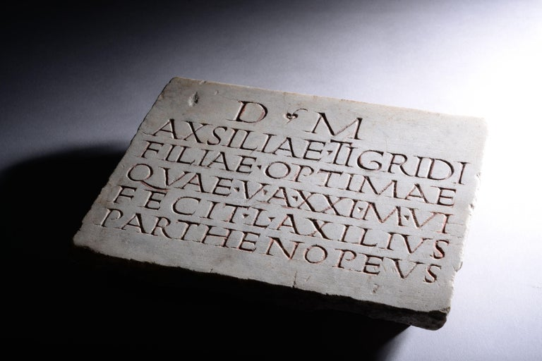 European Ancient Roman Marble Inscription, 150 AD For Sale