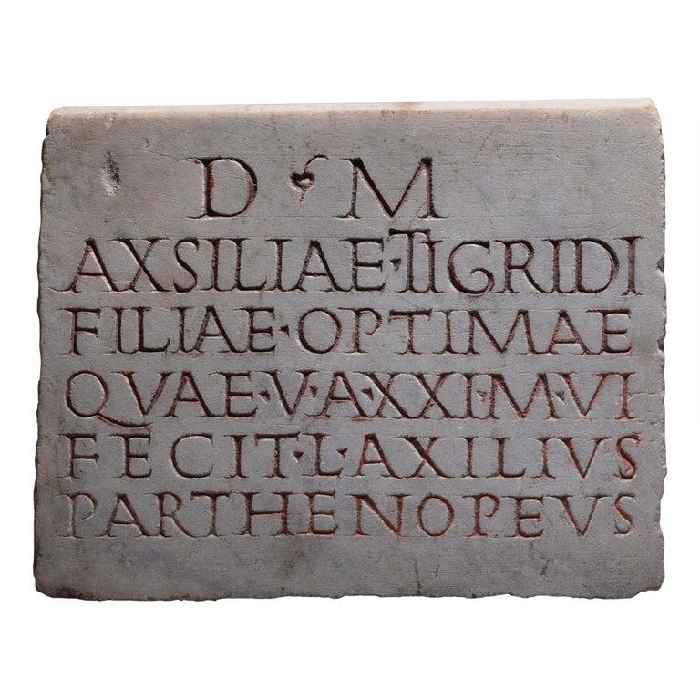 Ancient Roman Marble Inscription, 150 AD For Sale