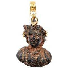 Ancient Roman Prince Bust Artifact Set in 21-Karat Gold Pendant