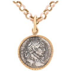 Ancient Roman Silver Coin Gold Pendant