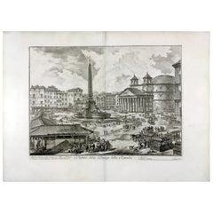 Piranesi Grand Tour Rome View Piazza della Rotonda 1751 Italian Etching