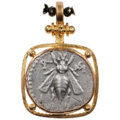 Ancient Silver AR Drachm Bee & Stag Coin in a 22kt Gold Artisan Created Pendant
