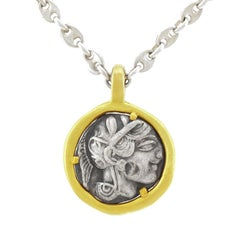 Ancient Silver Coin Set Gold Pendant Necklace