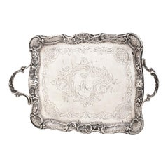 Ancient Silver Tray, Austria Late 19th Century