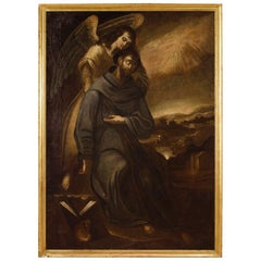 Ancient Spanish Religious Painting Saint Francis with an Angel, 17th Century