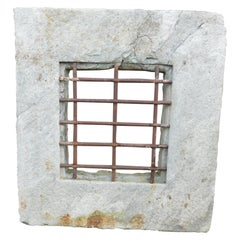 Ancient Stone Window with Iron Grate, Late 18th Century Italy