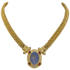 Intaglio Yellow Gold Ancient-Style Mesh Chain Sautoir Necklace