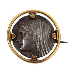 Ancient Syracuse Sixteen Litra Silver Coin in Gold Mount