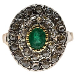 Ancient Technique Emerald and Diamond Ring in Silver and Gold