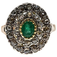 Ancient Technique Emerald and Diamonds Ring in Silver and Gold