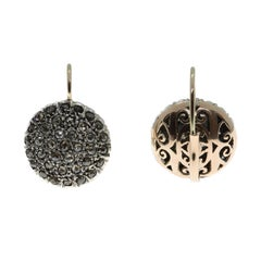 Ancient Technique, Round Pavé Set Diamond Earrings in Rose Gold and Silver