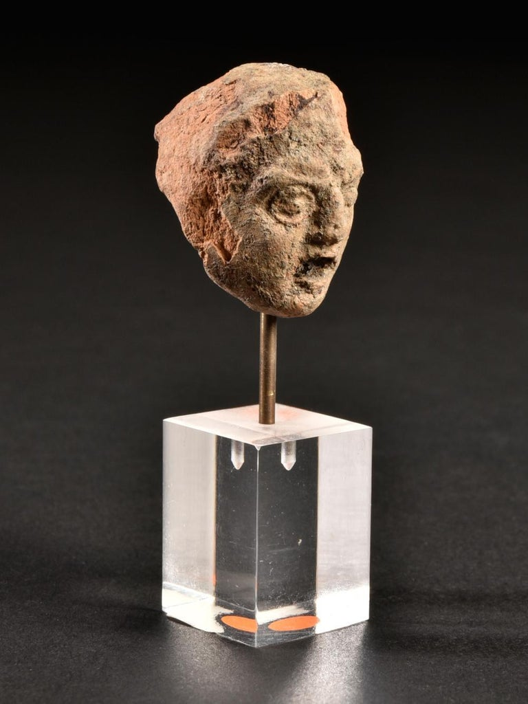 Ancient Terracotta Theatre Greek Head of a Man, 3rd Century BC For Sale 1