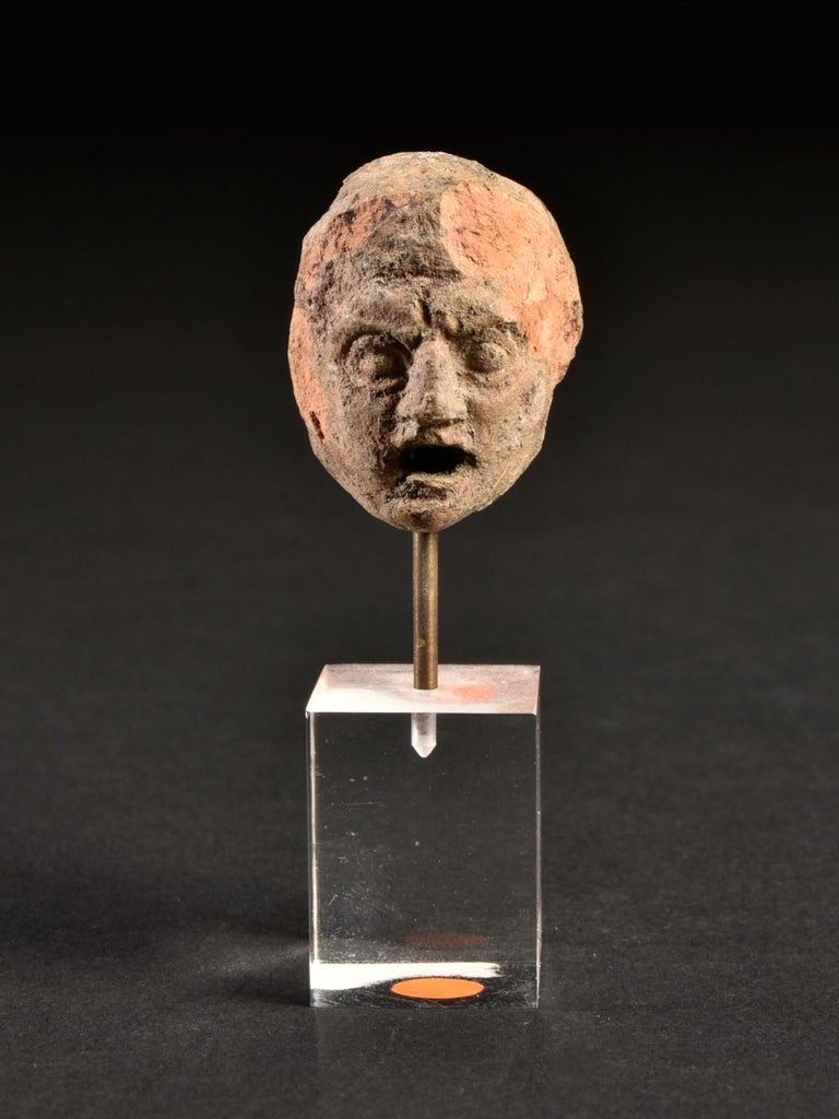 Ancient Terracotta Theatre Greek Head of a Man, 3rd Century BC For Sale 2