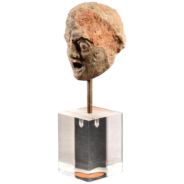 Ancient Terracotta Theatre Greek Head of a Man, 3rd Century BC For Sale