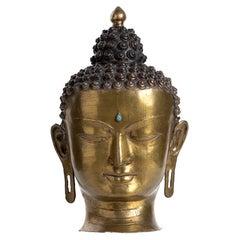 Ancient Tibetan Buddha's Head, 19th Century Tibet