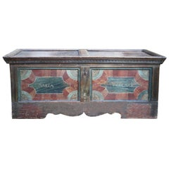 18th Century Blanket Chest Blue and Red Painted