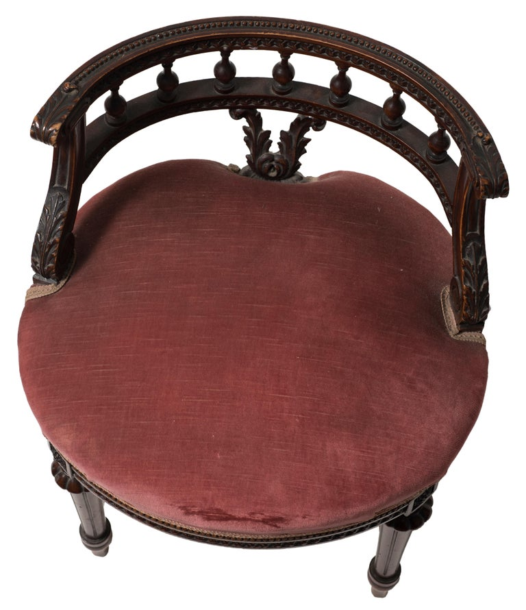 Ancient Wooden and Velvet Armchair, Late 19th Century For ...