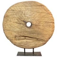 Ancient Wooden Cart Wheel Objet d'art, circa 1890