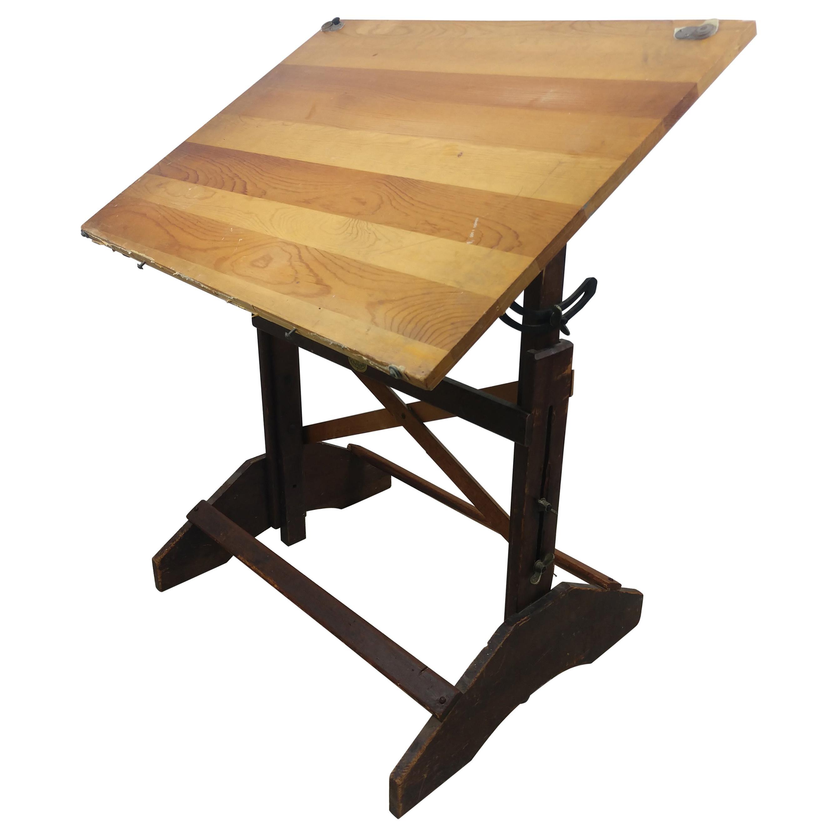 Anco Bilt Pine & Iron Drafting Table, C1955