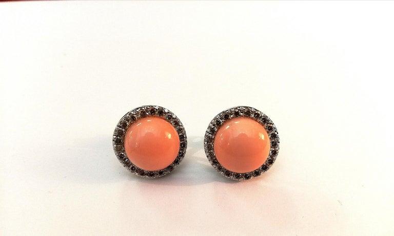 Ancora Silvio Round Pink Coral Diamond White Gold Stud Earrings In New Condition For Sale In Cosenza, Italia