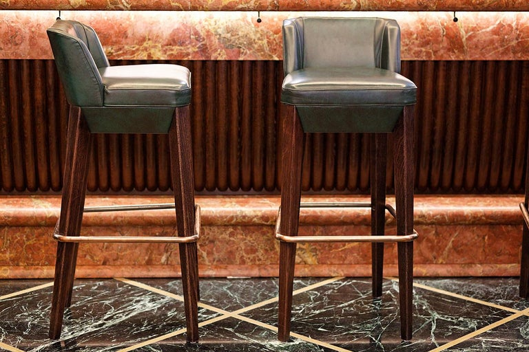 Contemporary And Objects Chilcomb Bar Stool, Leather Upholstery, Oak and Copper Foot Rail For Sale